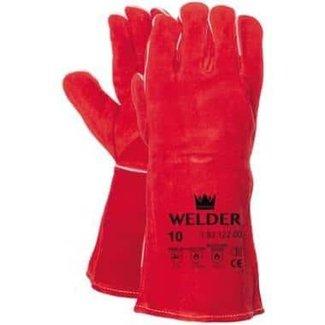 M-Safe Lashandschoen van rood splitleder met Kevlar garen gestikt 10