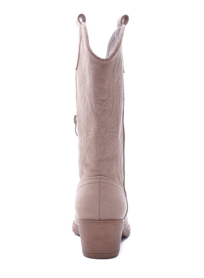 Cowboy laarzen suède Taupe Nude
