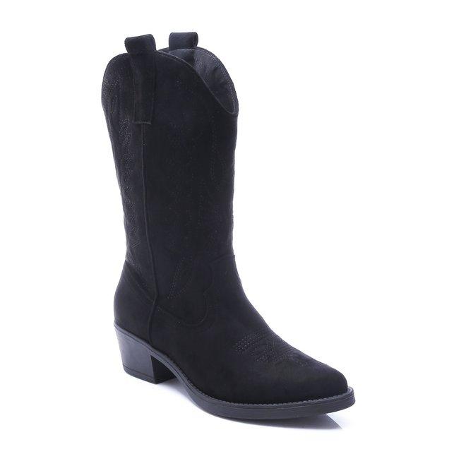 Cowboy laarzen suède Zwart