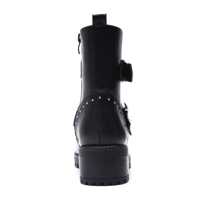 Biker boots met zilveren gespen & parels Zwart