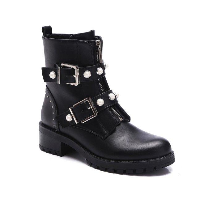 Biker boots zilveren gespen en parels Zwart
