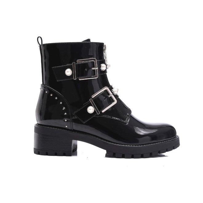 Biker boots zilveren gespen en parels Zwart Lak