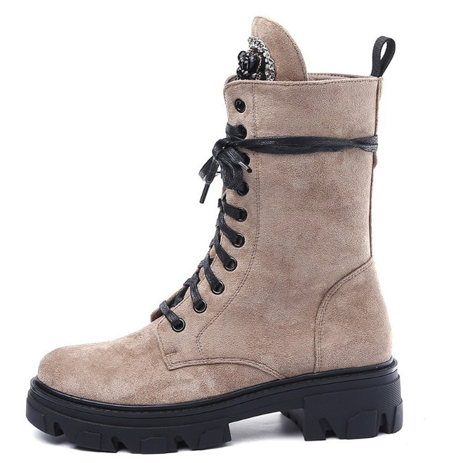 Veterboots Broche Suede Taupe Khaki