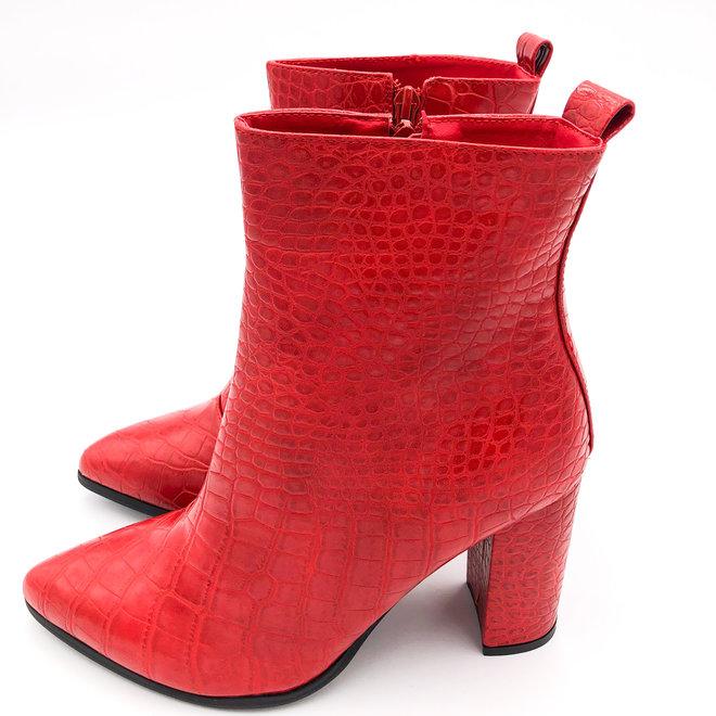 Enkellaarsjes Rood Croco