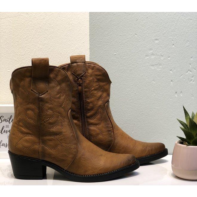 Cowboy laarzen kort Camel zwarte zool