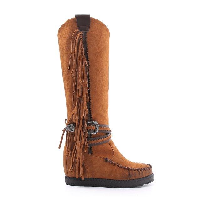 Bohemian boots hoog Franjes Camel