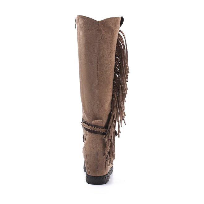 Bohemian boots hoog Franjes Taupe Khaki
