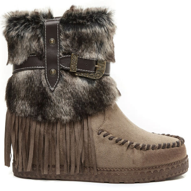 Bohemian boots Franjes en Bont Taupe Khaki