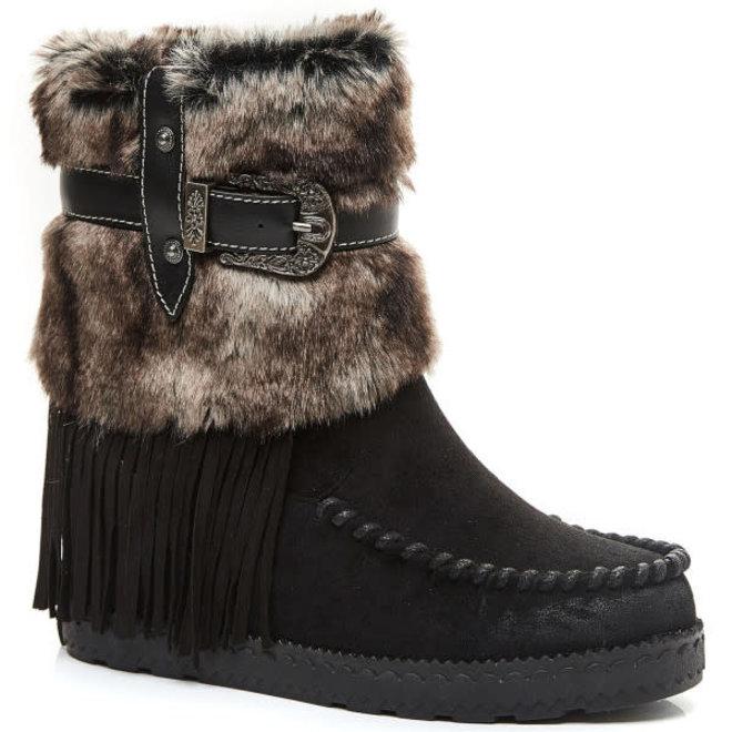 Bohemian boots Franjes en Bont Zwart