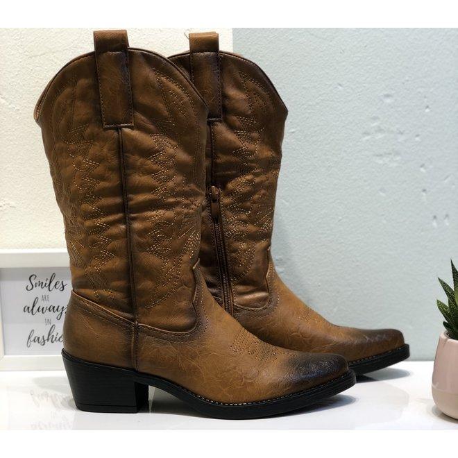 Cowboy boots Camel zwarte zool