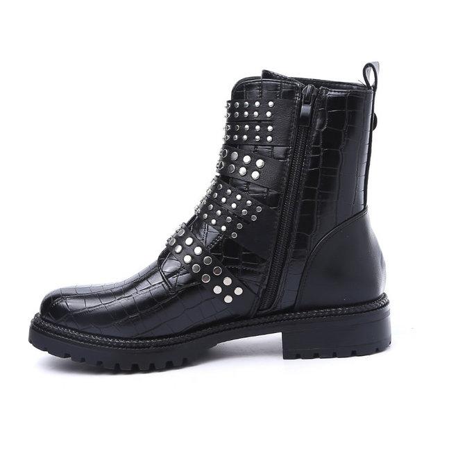 Biker boots studs en gespen Zwart croco