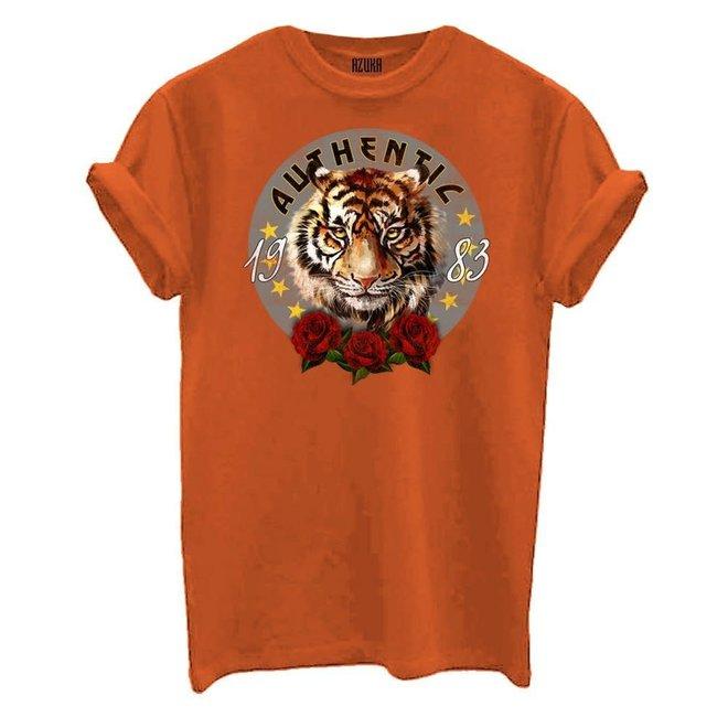 T-shirt Authentic Print Oranje Korte Mouw Rock Fit