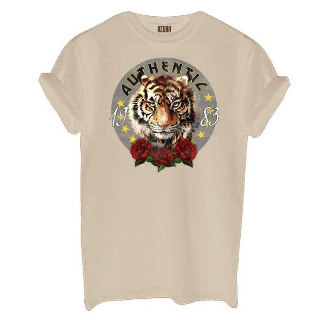 Azuka Dames t-shirt Authentic print Beige korte mouw rock fit