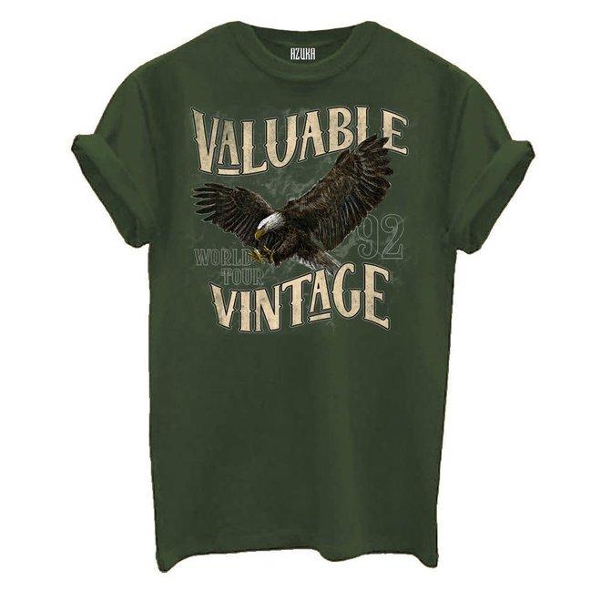 Azuka Dames t-shirt Valuable print Olive groen korte mouw rock fit
