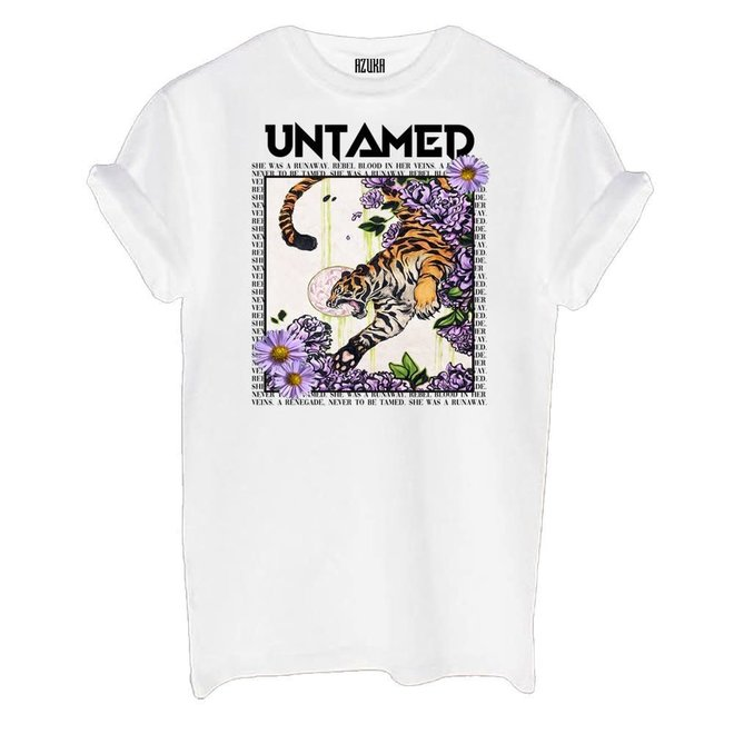 T-shirt Untamed Print Wit Korte Mouw Rock Fit