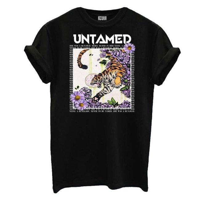 Azuka Dames t-shirt Untamed print Zwart korte mouw rock fit