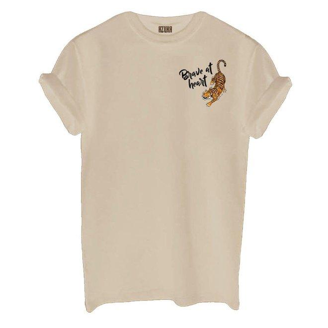 Azuka Dames t-shirt Brave at heart print Beige korte mouw rock fit