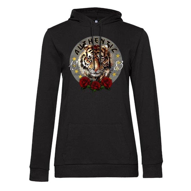 Azuka Dames hoodie Authentic print Zwart