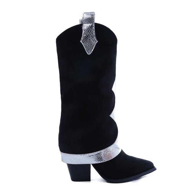 Laarzen Suede look Zwart-Zilver