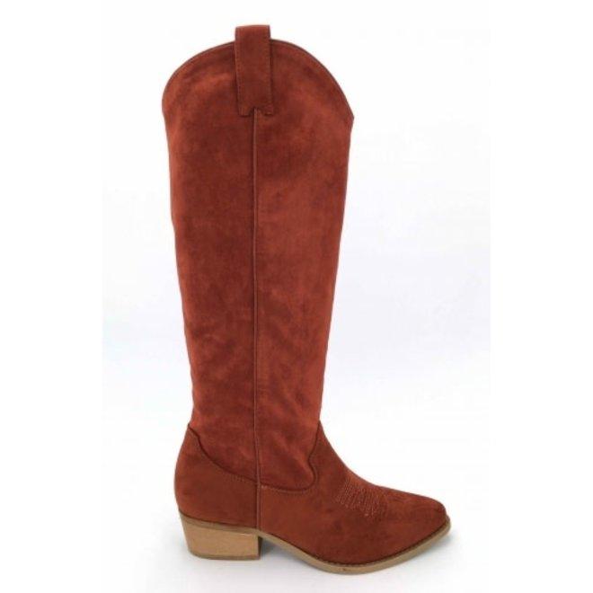 Laarzen Suede look hoog Oranje/Rood