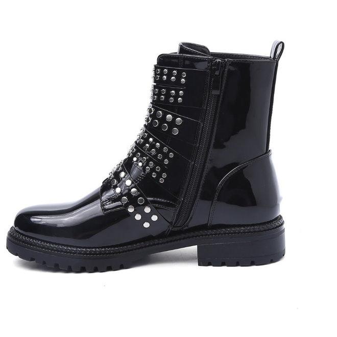 Biker boots studs en gespen Zwart LAK
