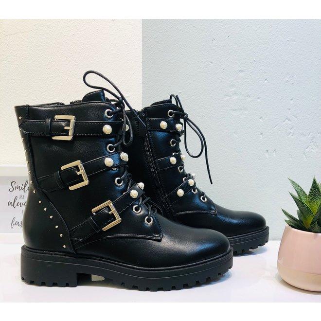 Biker boots zilveren gespen met parels Zwart