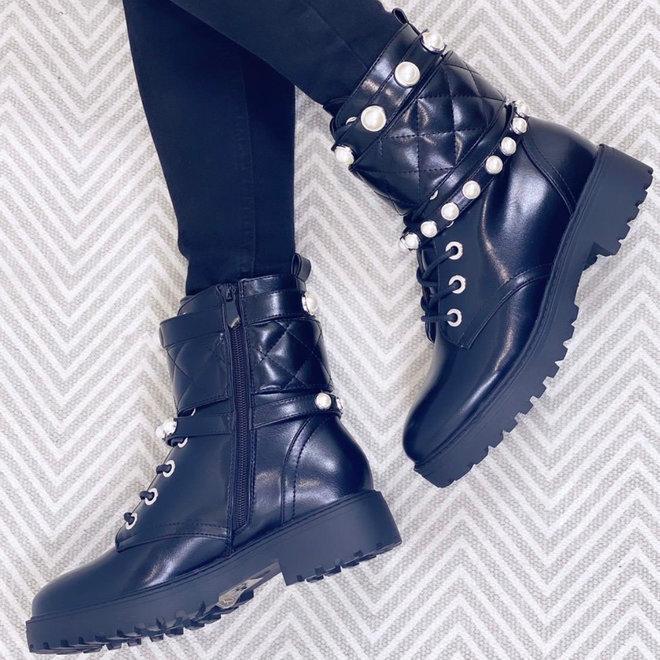 Biker boots met band & parels Zwart