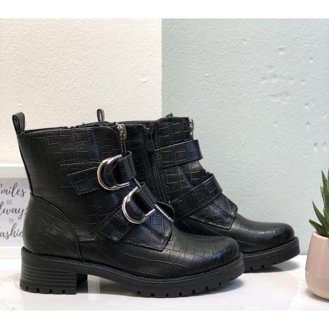 Biker boots dubbele gesp Zwart croco