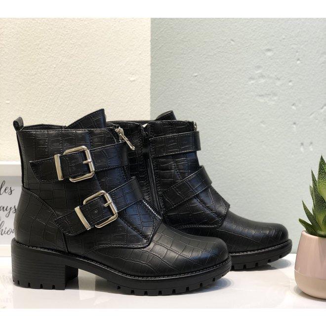 Biker boots met zilveren gespen Zwart croco