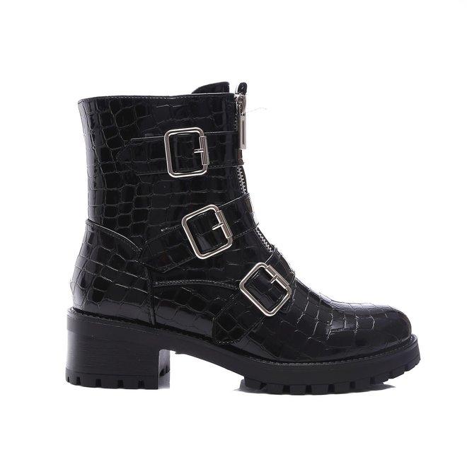Biker boots zilveren gespen dubbele rits croco Zwart Lak