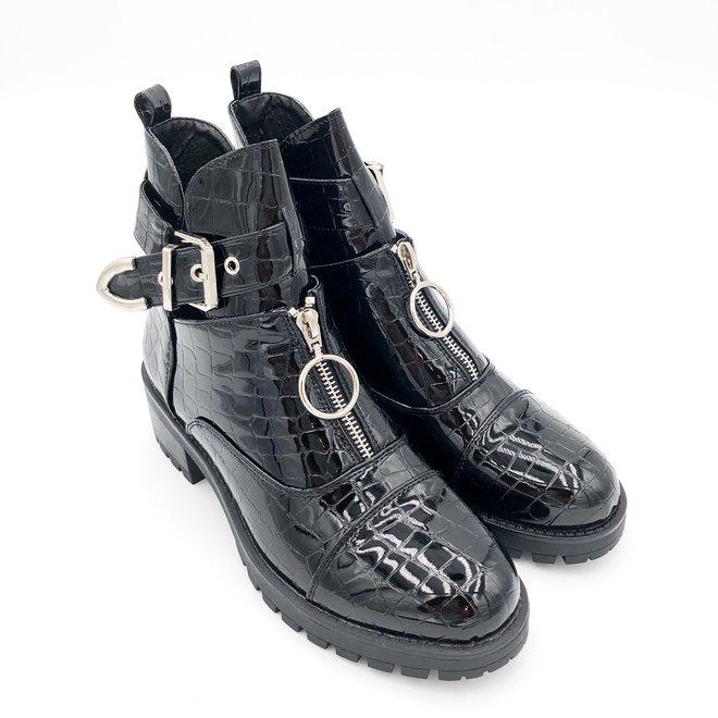 Biker boots open met zilveren gesp en rits Zwart lak croco