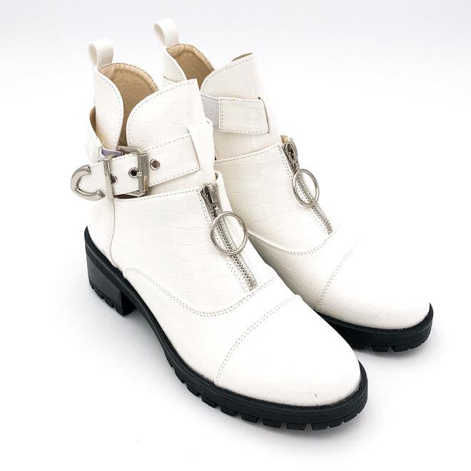 Biker boots open met zilveren gesp en rits Wit lak croco