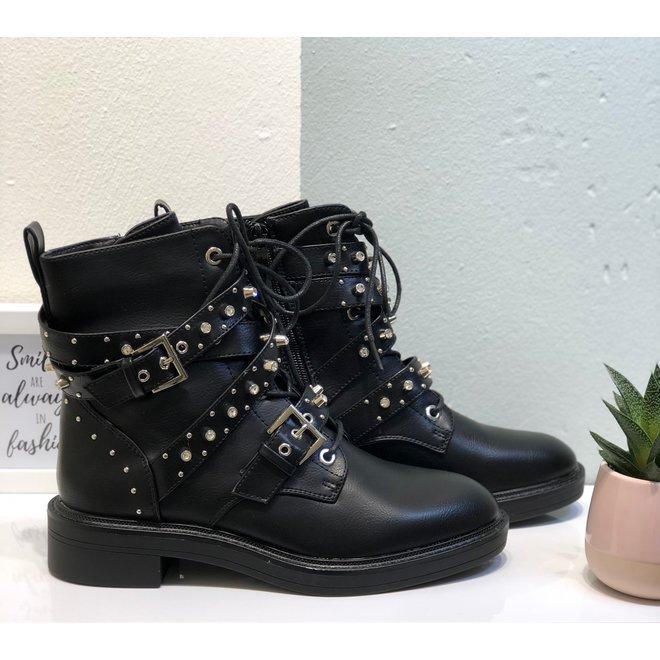 Biker boots met studs & riempjes Zwart
