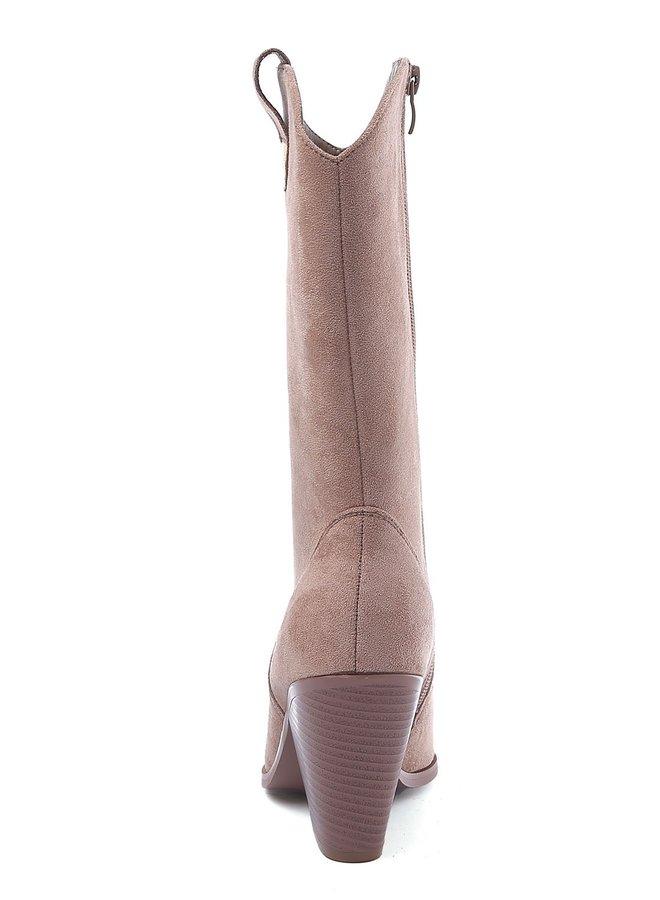 Laarzen met stalen neus Suede Taupe Nude