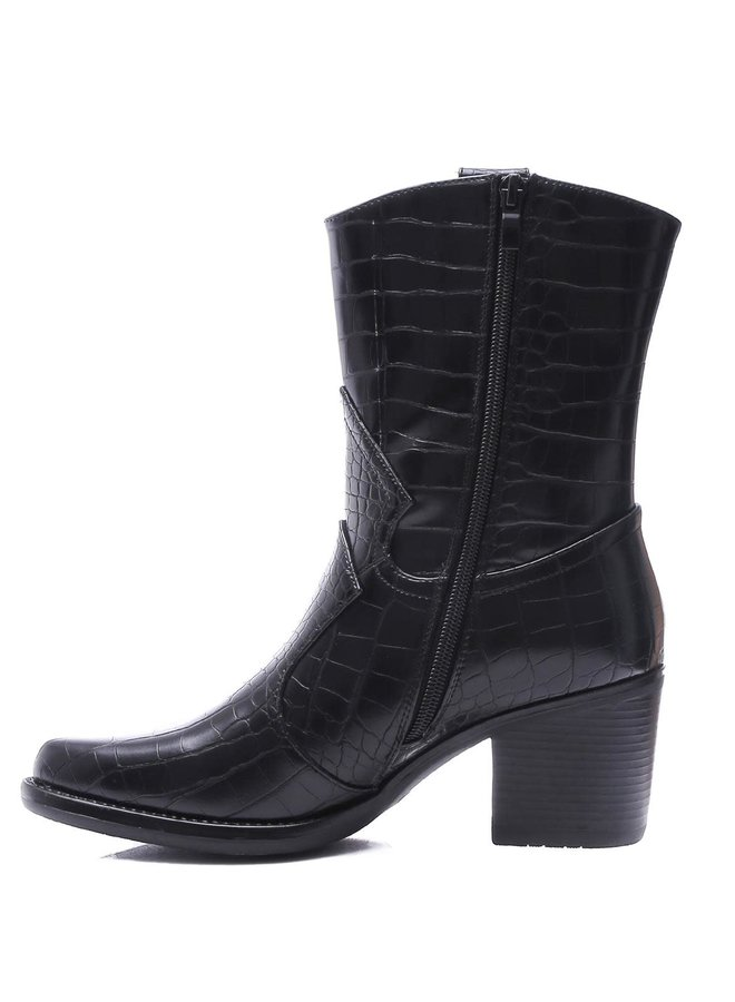 Cowboy boots croco Zwart