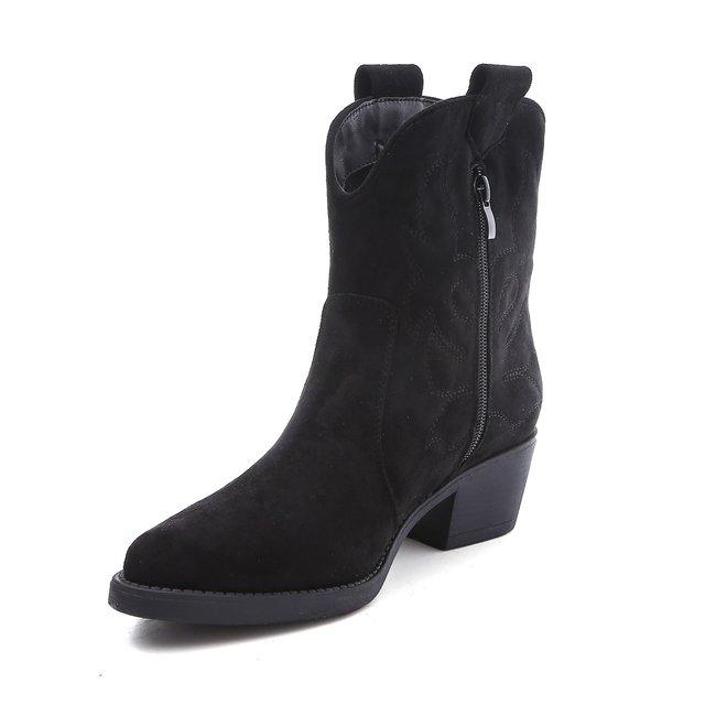 Cowboy boots kort suède Zwart