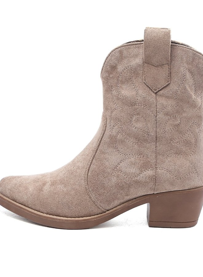 Cowboy boots kort suède Taupe Khaki