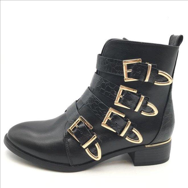 Biker boots met gouden gespen Zwart Croco