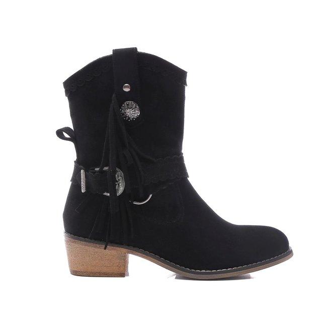 Cowboy boots kort Franjes Zwart suède