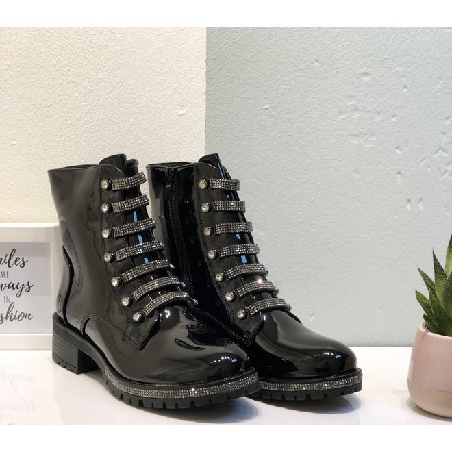 Biker boots met strass Zwart lak
