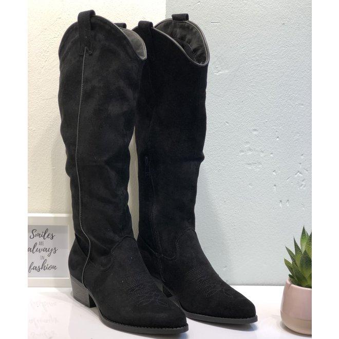 Cowboy Laarzen Suede hoog Zwart