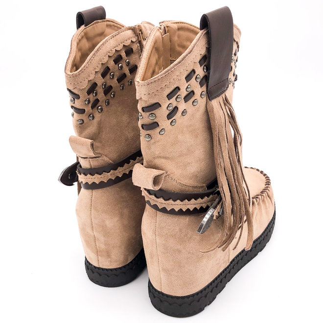 Bohemian boots Franjes & studs Taupe Nude