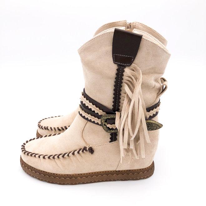 Bohemian boots Franjes Beige