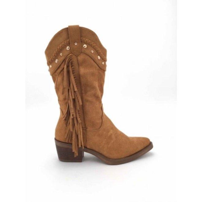 Cowboy Laarzen franjes & studs Camel suede