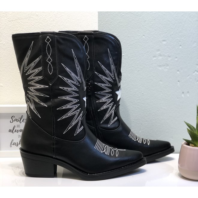 Cowboy boots stiksels Zwart-Wit