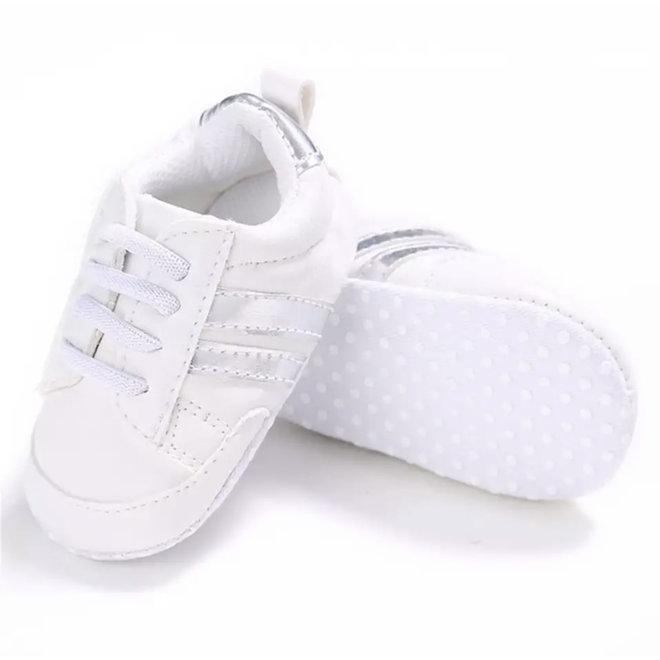 Baby sneakers sport wit Zilver