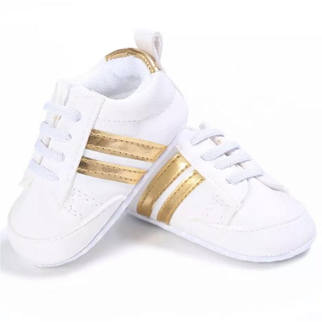 Baby sneakers sport wit Goud