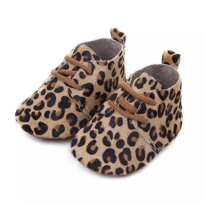 Baby mocassins Beige leopard