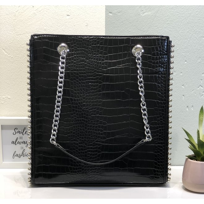 Shopper studs Zwart croco
