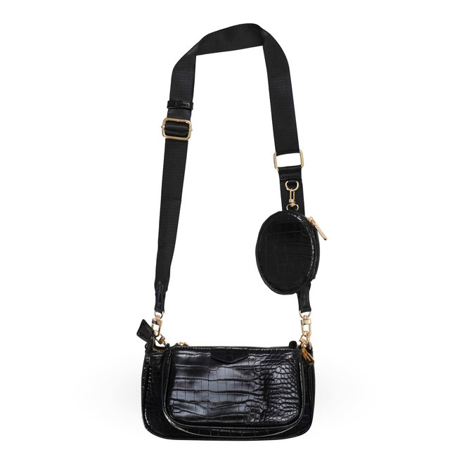Musthave Dames Tas Zwart Crossbody bag croco